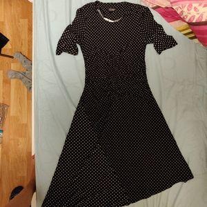 Polka Dot Fitted Asymmetrical Dress w Ruching